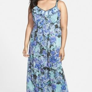 Jessica Simpson Blue Flowy Ruffled Maxi Dress NWOT
